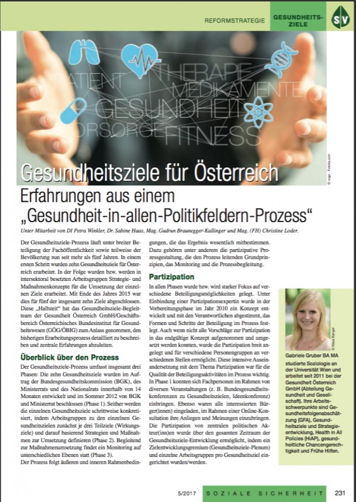 Artikel von Gabriele Gruber (GÖG) zur Prozessbeschreibung der Gesundheitsziele in Soziale Sicherheit (Fachzeitschrift des Hauptverbands der Sozialversicherungsträger. Ausgabe Mai 2017