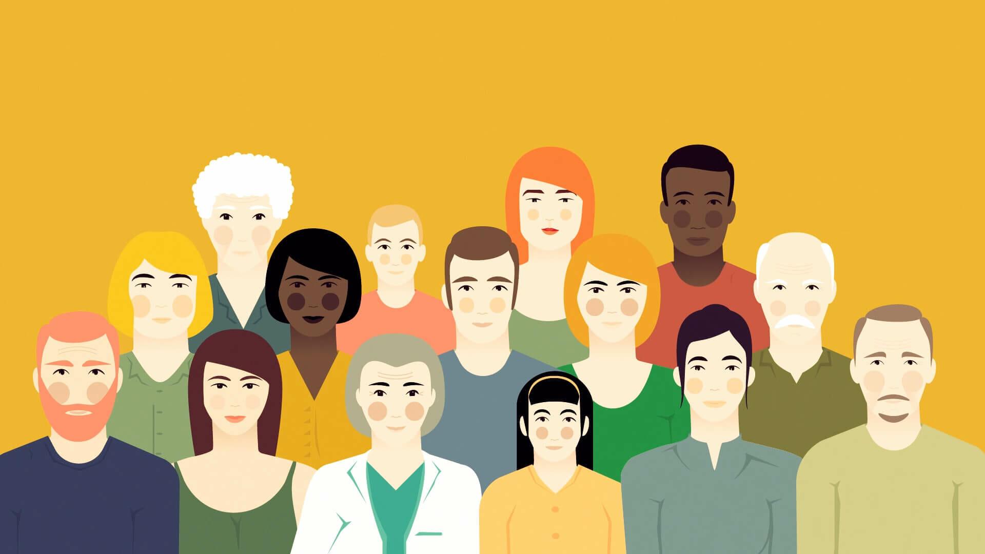 Bild aus dem Animationsvideo zu den Gesundheitszielen, auf dem Menschen unterschiedlichen Alters und Geschlechts zu sehen sind.