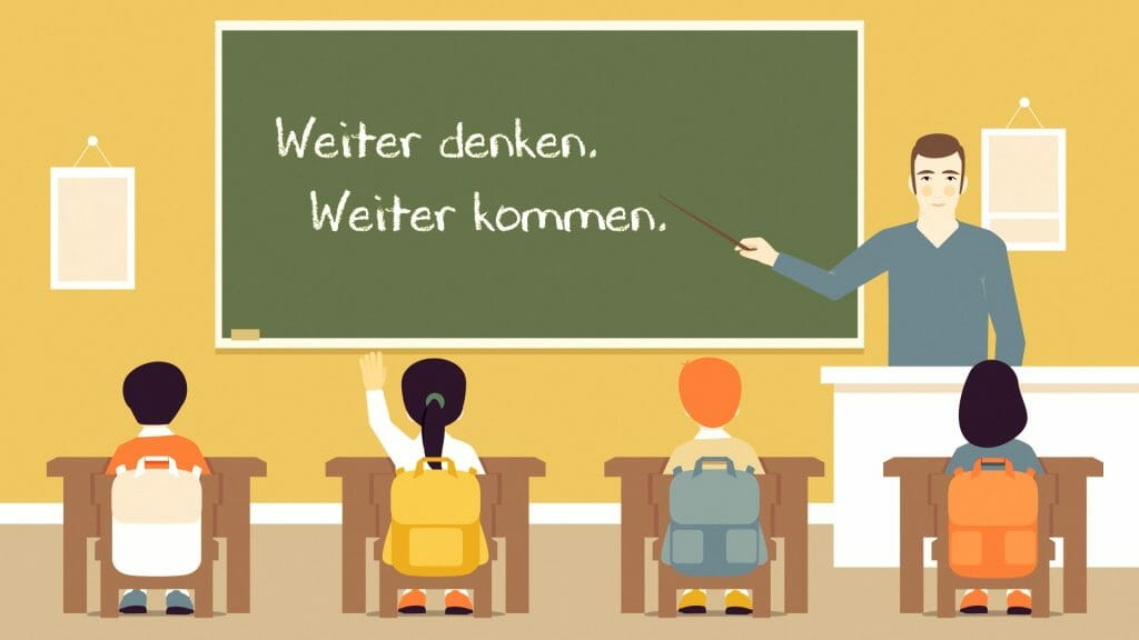 Bild aus dem Animationsvideo zu den Gesundheitszielen, auf dem eine Unterrichtssituation dargestellt ist. Der Lehrer deutet auf die Tafel, auf der der Slogan der Gesundheitsziele Österreich geschrieben steht: Weiter denken. Weiter kommen.