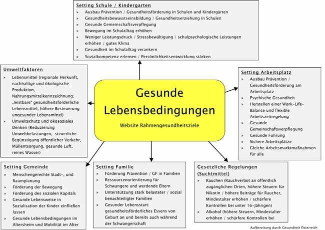 Mindmap Gesunde Lebensbedingungen Entstehung Gesundheitsziele Oesterreich