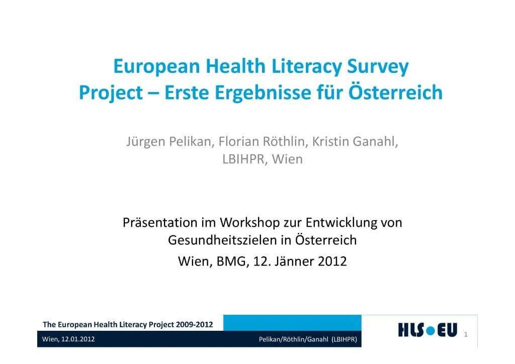 Praesentation European Health Literacy Survey Erste Ergebnisse Oesterreich