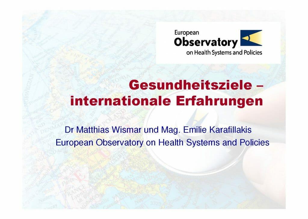 Prasentation Gesundheitsziele Internationale Erfahrungen Observatory