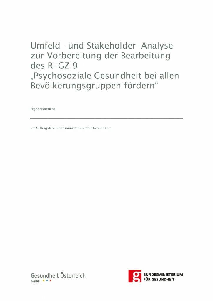 Umfeld Stakeholderanalyse Arbeitsgrupe Ziel 9 Gesundheitsziele Oesterreich