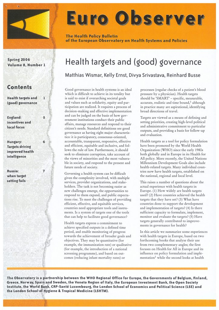 Article In Euro Observer Health Targets And Good Governance 2006