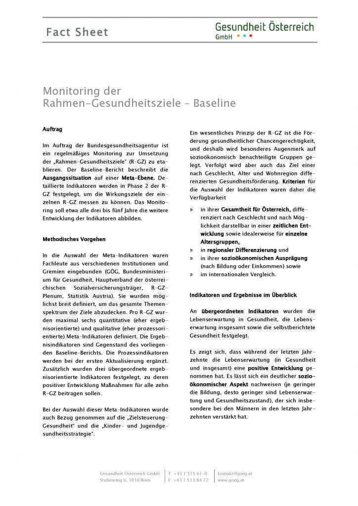 Fact Sheet Baseline Gesundheitsziele Oesterreich