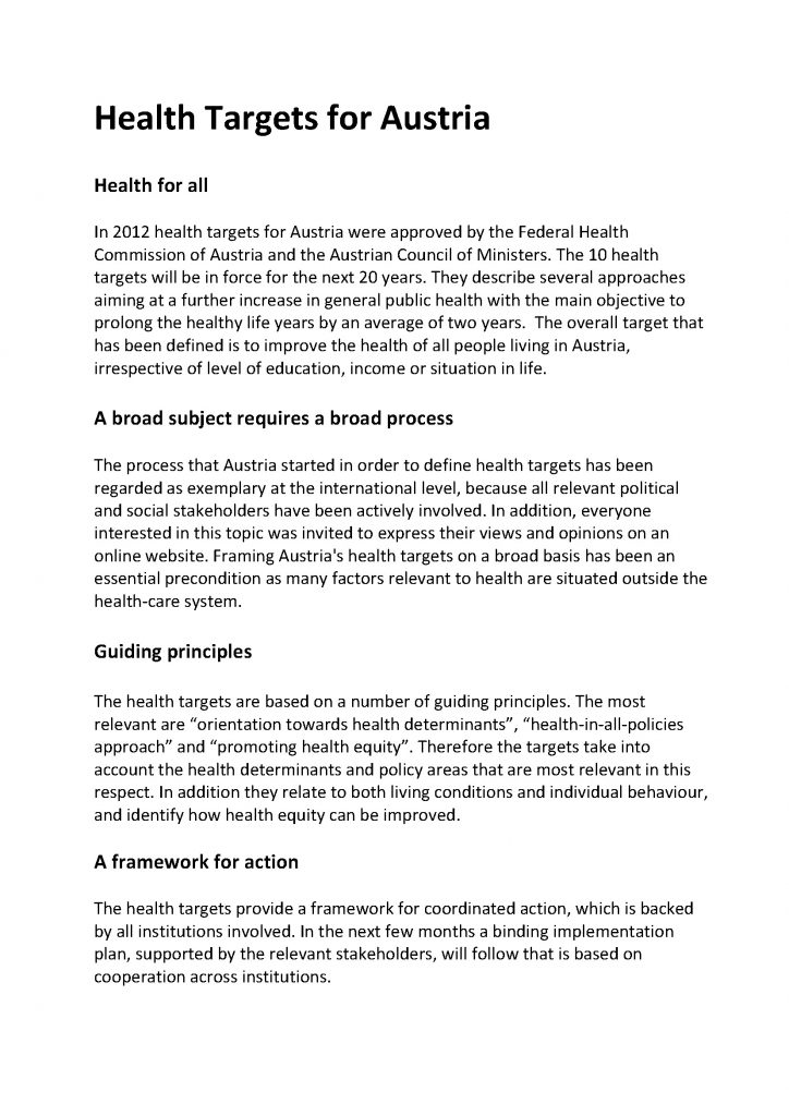 Health Targets Austria Fact Sheet