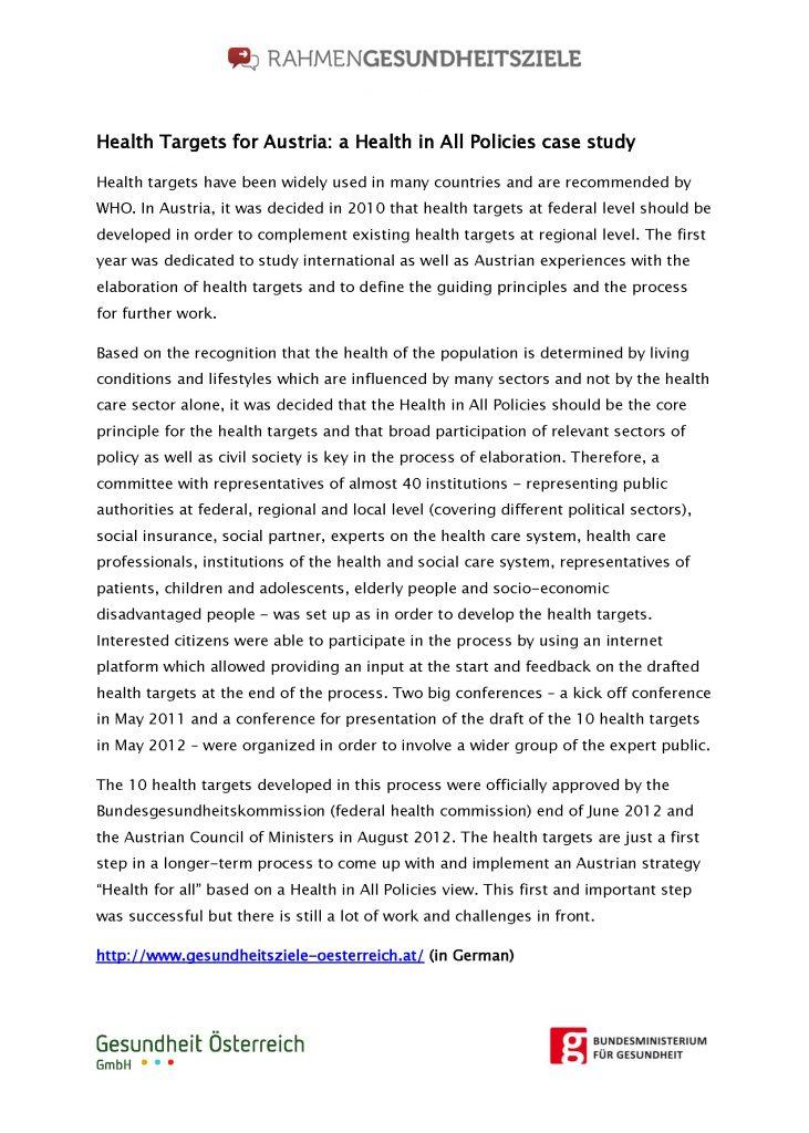 Health Targets Austria Hiap Case Study