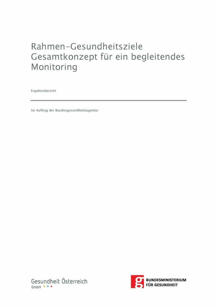 Monitoring Gesamtkonzept Gesundheitsziele Oesterreich