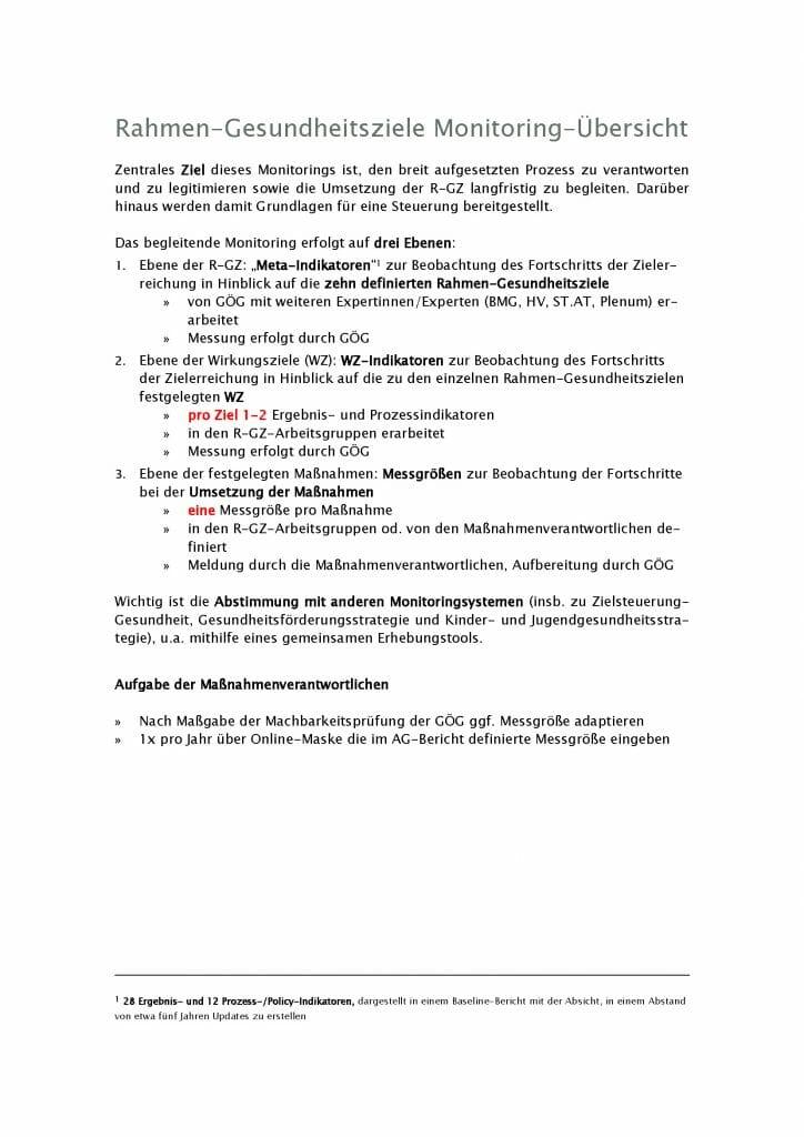 Monitoring Uebersicht Gesundheitsziele Oesterreich