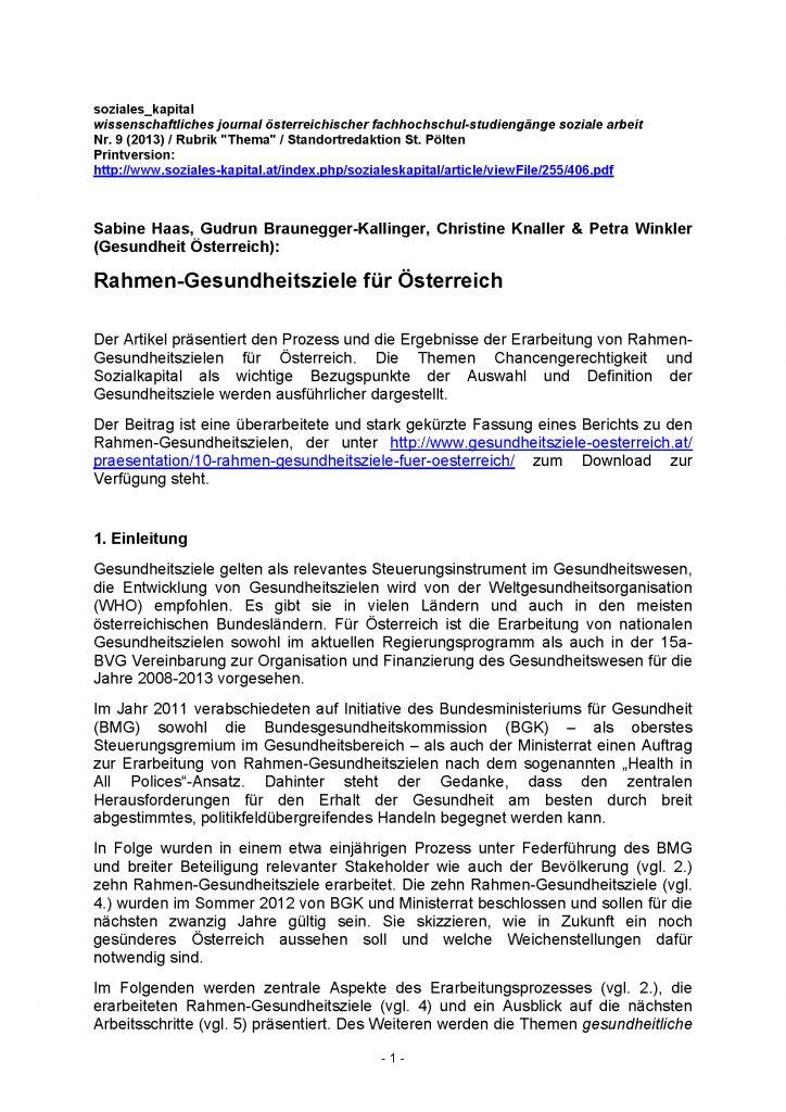 Zeitschriftenartikel In Soziales Kapital 2013 Gesundheitsziele Oesterreich Seite 01