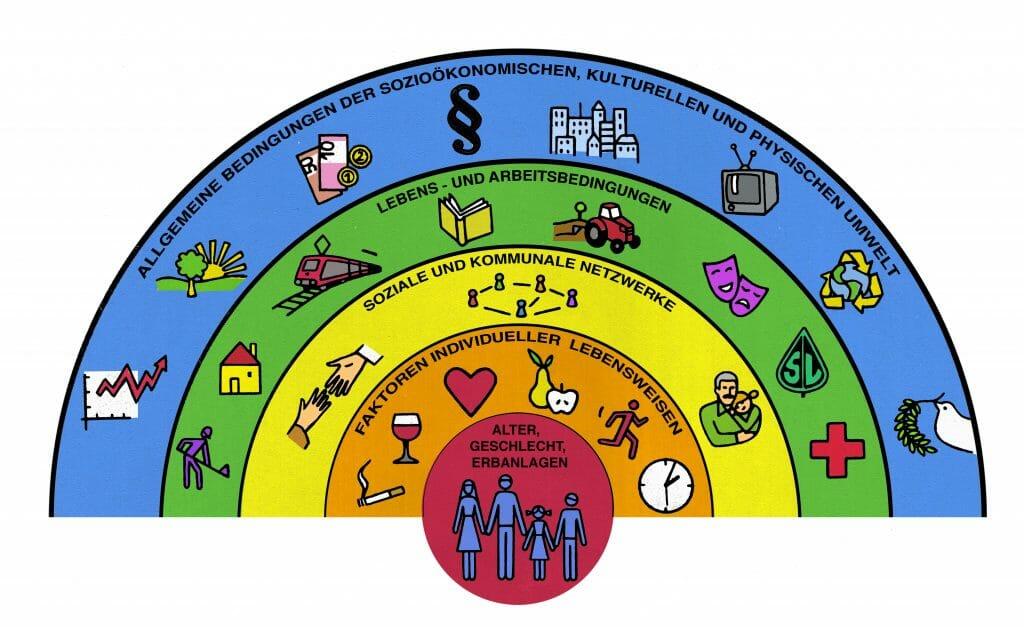 Regenbogengrafik der Gesundheitsdeterminanten / ©FGÖ nach Dahlgren & Whitehead